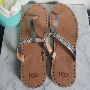Uggs thong sandal with silver braided detail